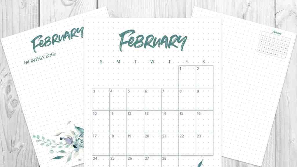 february 2019 monthly bullet journal spread