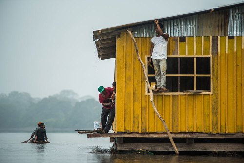 People at work in the Amazon
