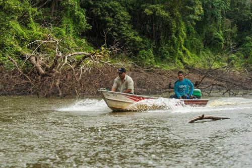 Fishermen in a boat on the Amazon