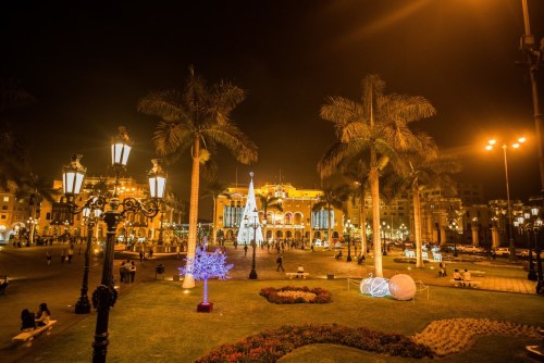 Lima's Plaza de Armas at night