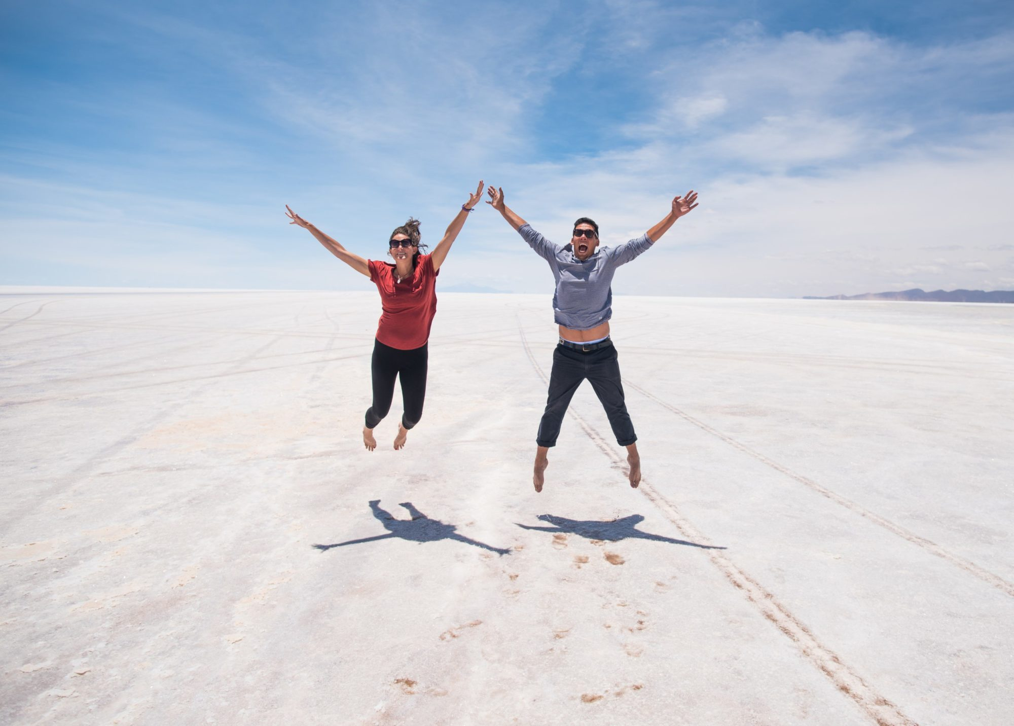 Pete & Antie jumping on the Bolivian Salt Flats