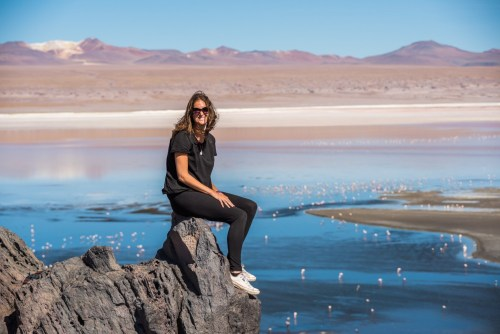 Antie looking out over a lake in Bolivia