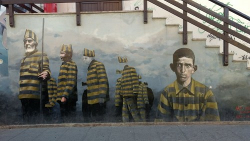 Street art of prisoners from the local prison, including 'Big Ears'