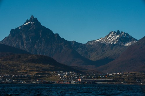 View of Ushuaia seen from a boat on the Beagle Channel