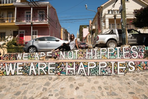 We are not hippies, we are happies street art in Valpo