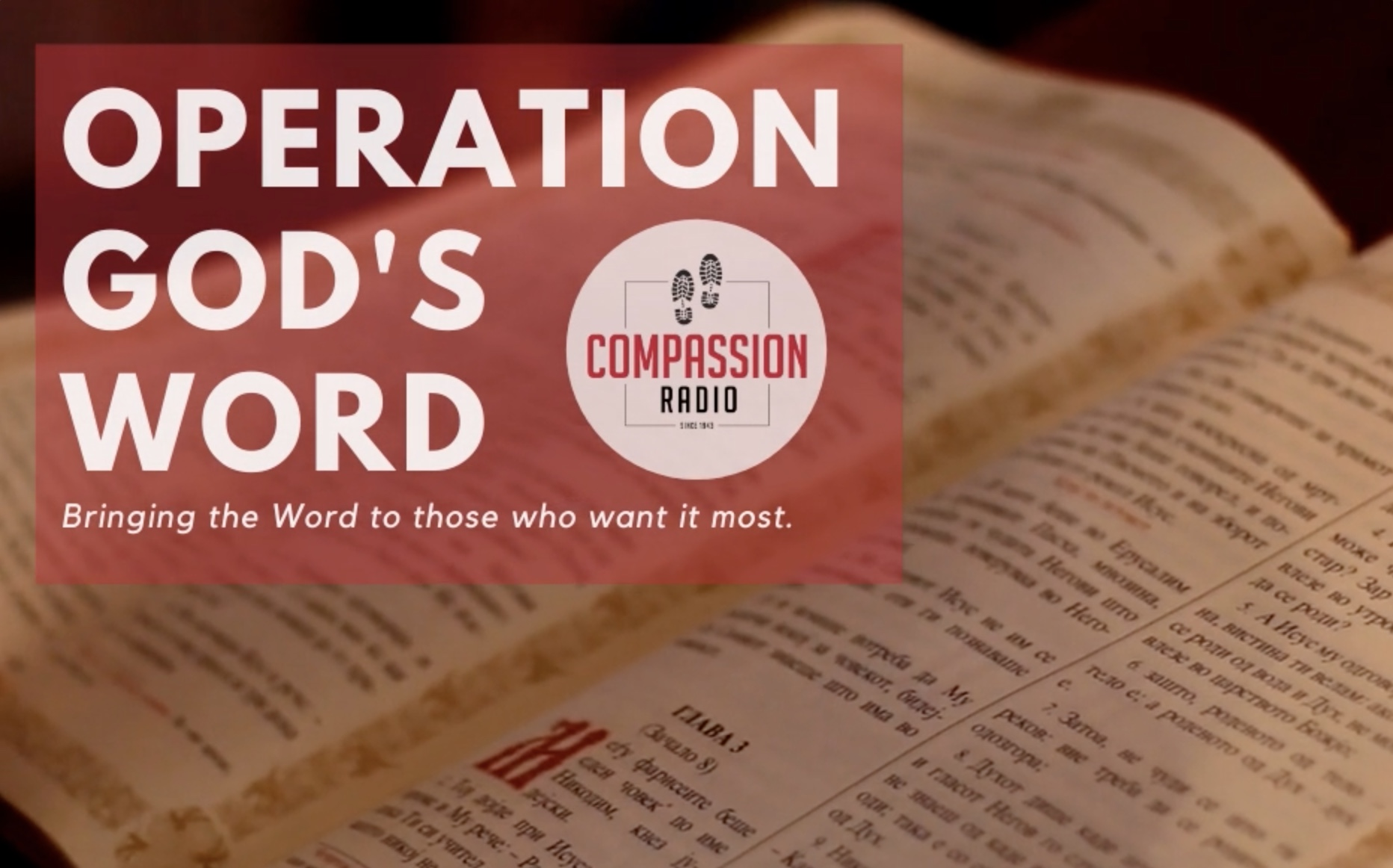 Details about Compassion Radio's Compassion Project, Operation God's Word