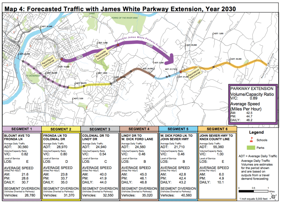 Old map of James White Parkway Extension