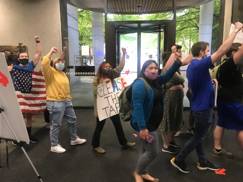 Protesters at County Commission