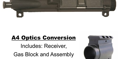 Conversion kit from old A2 style service rifle to an A4 style service rifle ready for optics includes receiver, gas block and assembly