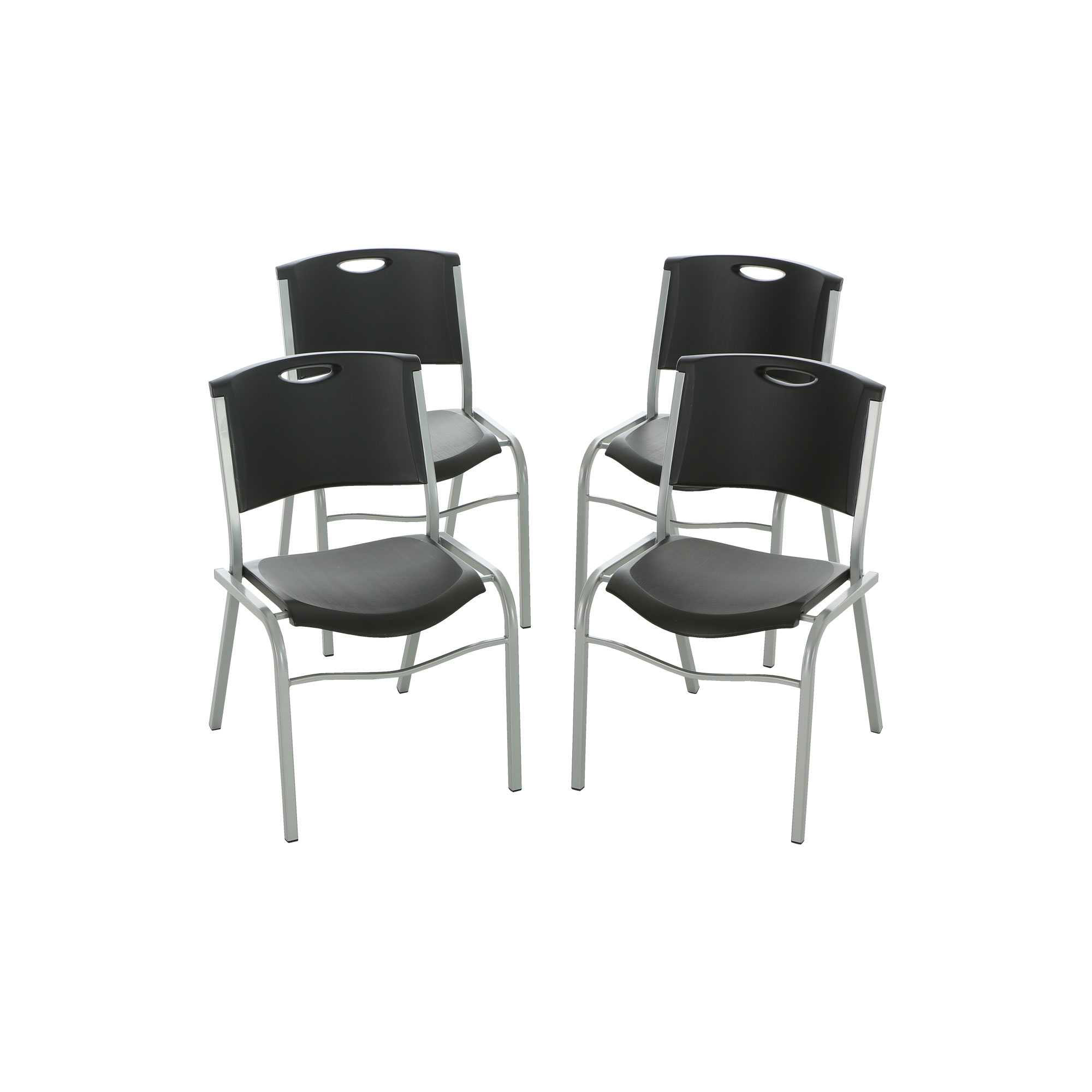 Lifetime Chair Lifetime Stacking Chairs 42830 Black Stackable Chairs 4 Pack
