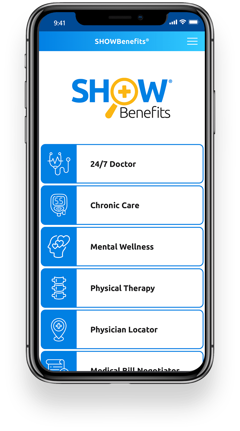 SHOWBenefits Phone Application Home Screen