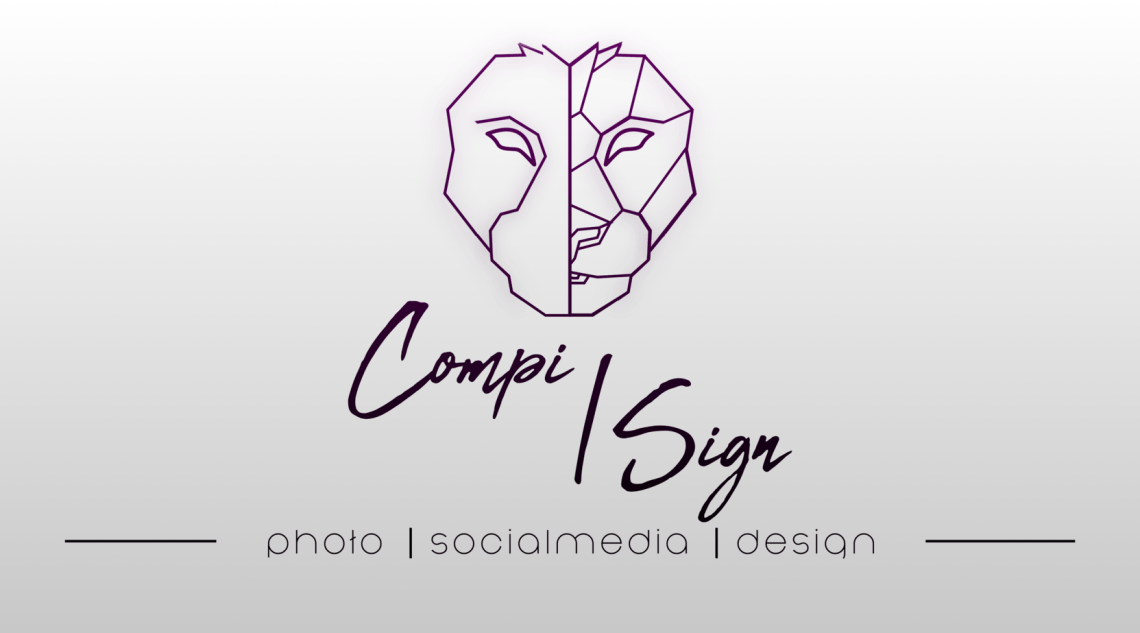 Compi|Sign logo mit Slogan, design, Social Media und Photo