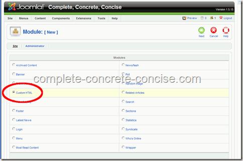 adsense-joomla-custom-html
