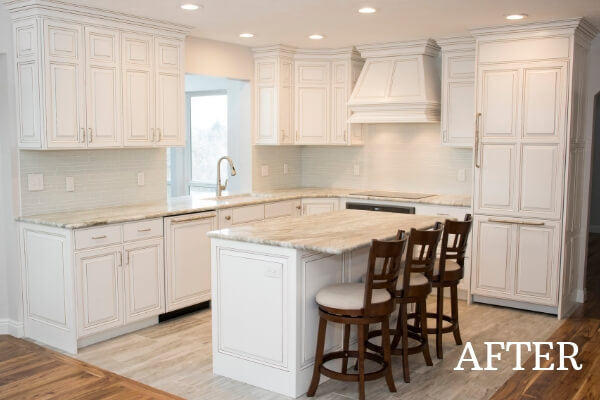 elegant white kitchen after