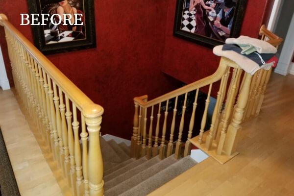 custom stair case remodel before