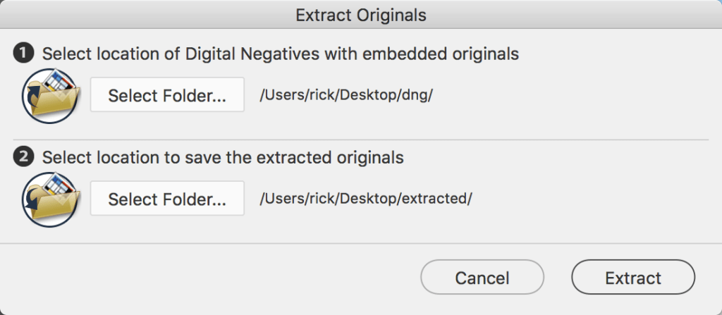 DNG Converter Extract Originals Window