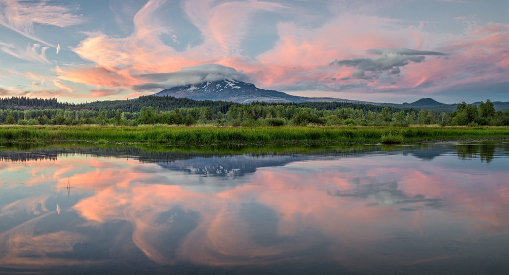 Mount Adams, from Trout Lake, Washington.