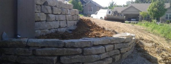 limestone rock retaining wall