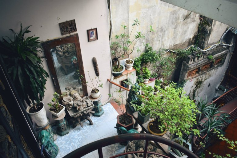 cafe pho co Hanoi Vietnam view from spiral staircase