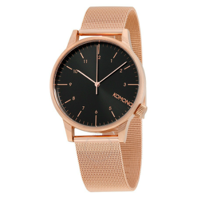 komono rose gold black dial mesh watch