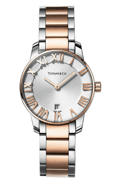 rose gold silver tiffany watch