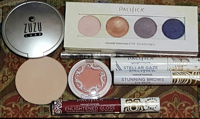 Zuzu Luxe Dual Powder Foundation/Bronzer & Pacifica Supernatural Eyeshadow Palette Camellia Blush Stellar Gaze Mascara Eyebrow Gel Pacifica Enlightened Lip Gloss in Ravish