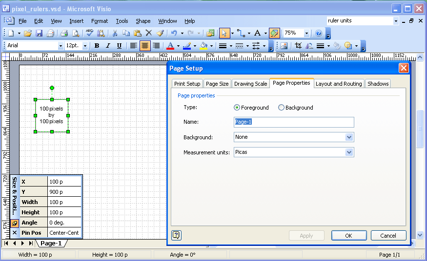 visio application diagram 2008 kawasaki brute force 750 wiring pixel rulers in complex diagrams