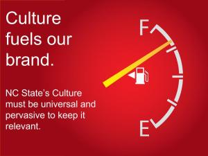 Culture fuels our brand. NC State's Culture must be universal and pervasive to keep it relevant.