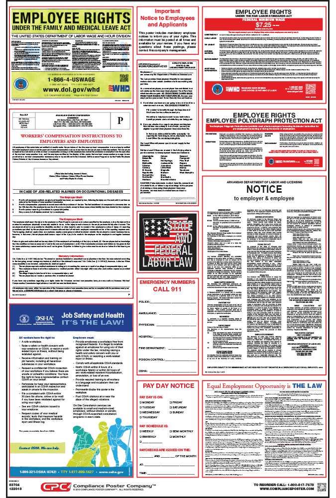 arkansas all on one labor law poster