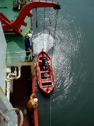 Our History - Testing maneuvering of lifeboat engine fwd