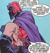 "Xavier tells Magneto, ""You are so far down the road to becoming what you hate."""