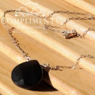 black onyx faceted pendant necklace