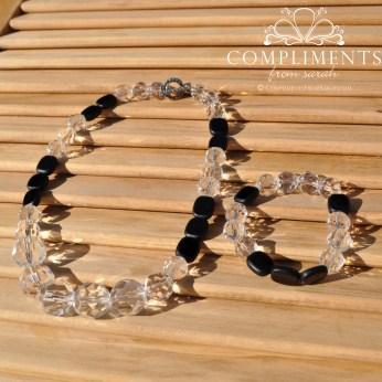 icy crystal clear & black necklace/bracelet set