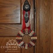 wine cork wreath door knob size red ribbon