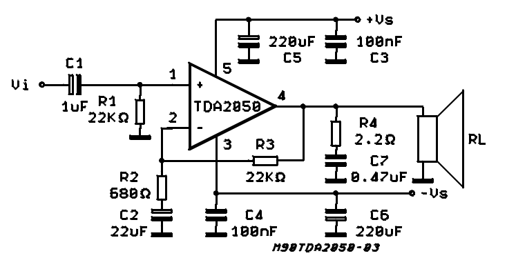 TDA2050 Audio Amplifier IC Pinout, Datasheet, Features