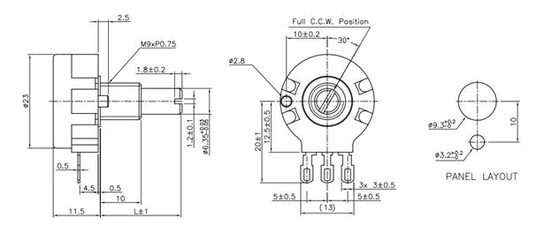 potentiometer variable resistor pin diagram description