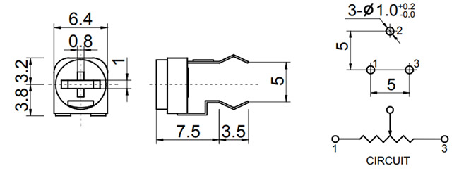 Preset Potentiometer Trimpot Pinout, Specs & Datasheet