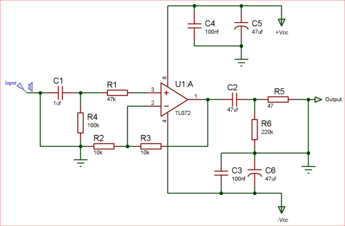 small resolution of circuit diagram of audio pre amplifier using tl072 op amp ic