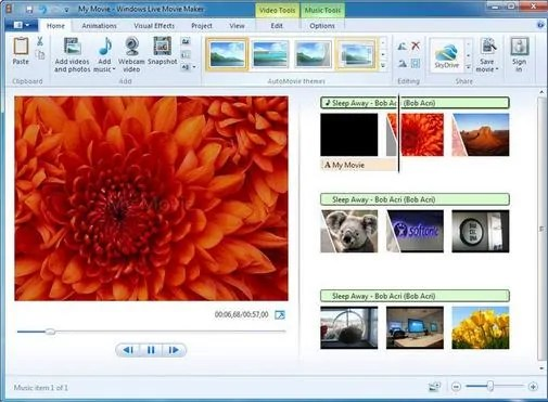 Tampilan Windows Live Movie Maker