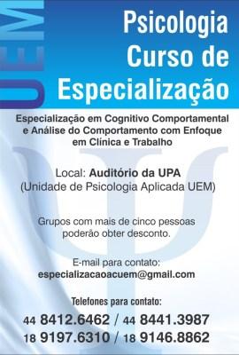 Especialização em Psicoterapia Cognitivo-Comportamental e Análise do Comportamento - Universidade Estadual de Maringá (UEM-PR) 5