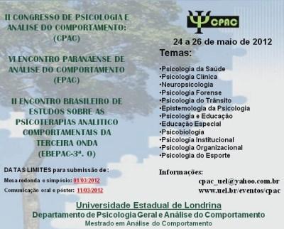 II Congresso de Psicologia e Análise do Comportamento (II CPAC) - Londrina-PR: data limite para submissão de trabalhos 5