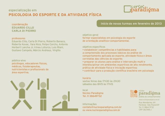 Especialização em Psicologia do Esporte - Núcleo Paradigma - São Paulo/SP 5