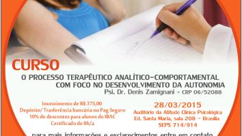 Sorteio de uma inscrição no curso: O Processo Terapêutico Analítico-Comportamental com Foco no Desenvolvimento da Autonomia. 13