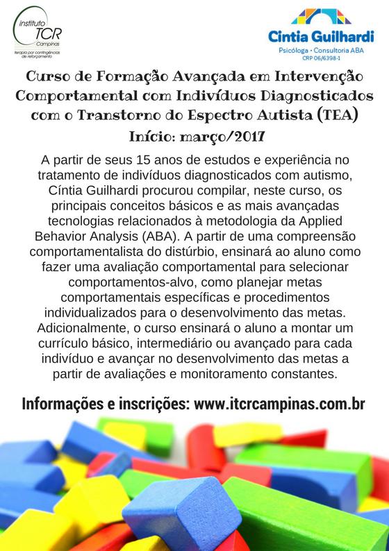 Curso de Formação Avançada em Intervenção Comportamental com Indivíduos Diagnosticados com Transtorno do Espectro Autista (TEA) 5