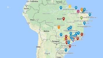 Mapa indica locais dos principais Eventos de AC do Brasil 23
