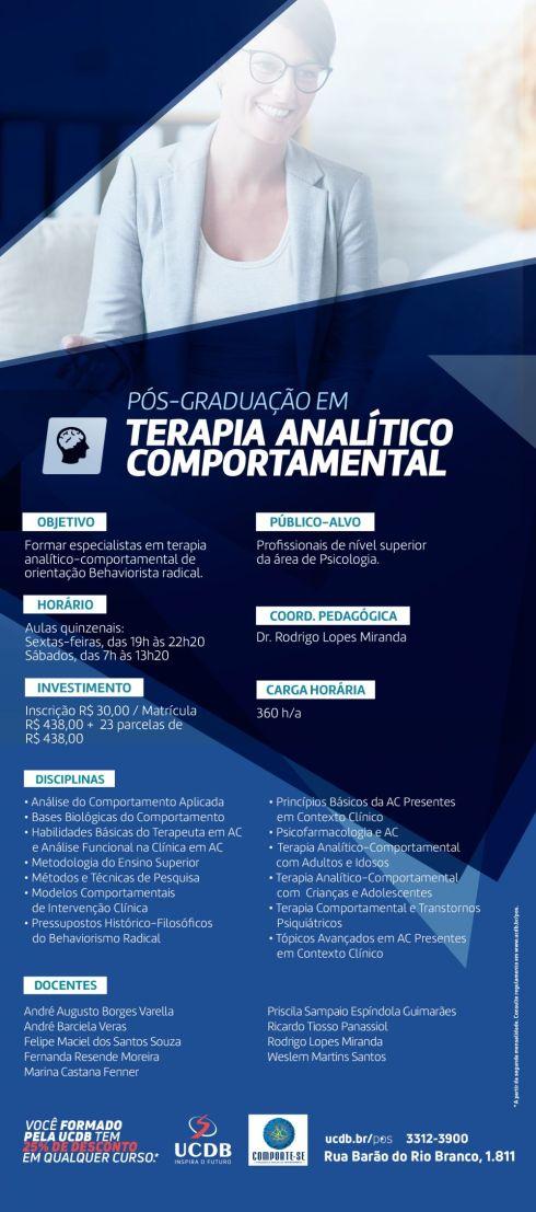 Especialização em Terapia Analítico-Comportamental da UCDB- Universidade Católica Dom Bosco - Campo Grande (MS) 8