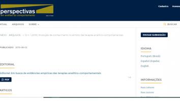 Revista Perspectivas: Edição Especial sobre a Produção de Conhecimento em Terapia Analítico-Comportamental 8