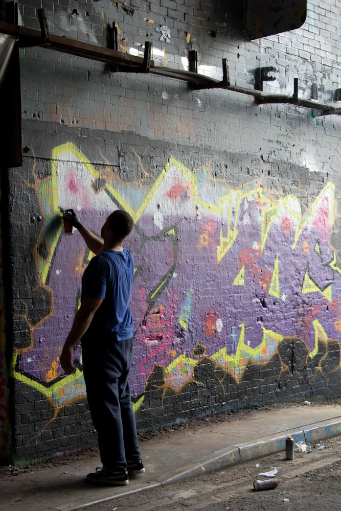 Street photography of graffiti artist