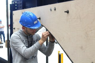 Bistri assembles a testing platform for a wind blade in the Offshore Wind Lab.
