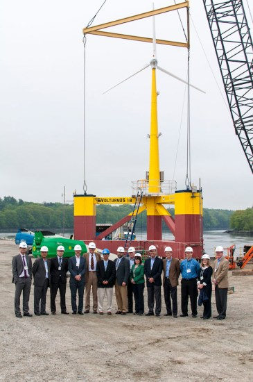 VolturnUS 1:8 was placed into the Penobscot River at Cianbro's facility in Brewer, Maine, in late May 2013. From there, Maine Maritime Academy towed VolturnUS 1:8 to its deployment site in Castine, ME.